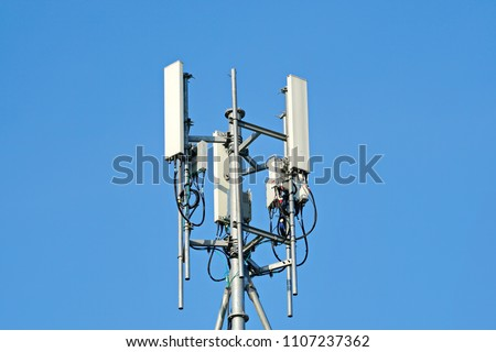 3G, 4G and 5G cellular. Base Station or Base Transceiver Station. Telecommunication tower with antennas. Wireless Communication Antenna Transmitter. Development of communication system in urban area.
