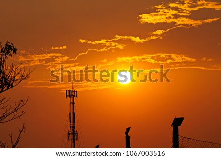 3G, 4G, Cell Site, Cellular telephone site, Cellular tower, cellular antenna on the background of sunset. #1067003516