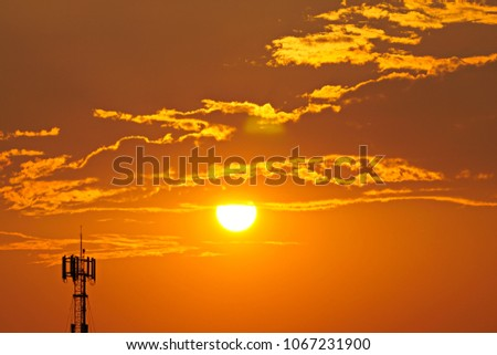 3G, 4G, Cell Site, Cellular telephone site, Cellular tower, cellular antenna on the background of sunset. #1067231900