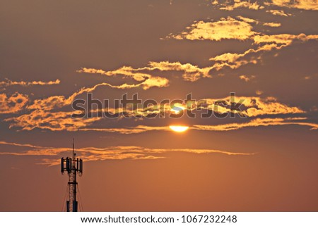 3G, 4G, Cell Site, Cellular telephone site, Cellular tower, cellular antenna on the background of sunset. #1067232248