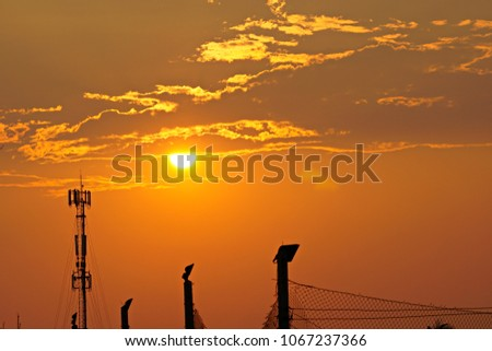 3G, 4G, Cell Site, Cellular telephone site, Cellular tower, cellular antenna on the background of sunset. #1067237366