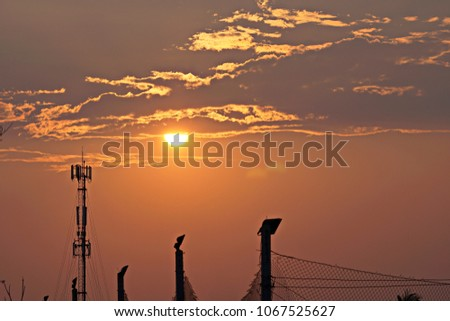 3G, 4G, Cell Site, Cellular telephone site, Cellular tower, cellular antenna on the background of sunset. #1067525627