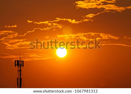3G, 4G, Cell Site, Cellular telephone site, Cellular tower, cellular antenna on the background of sunset. #1067981312