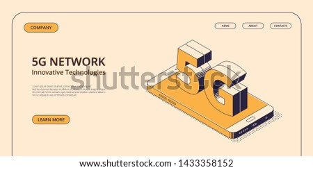 5G isometric concept - smartphone with big symbol of fifth generation of mobile network on web page template. Illustration of digital device connected to internet with innovative technology. #1433358152