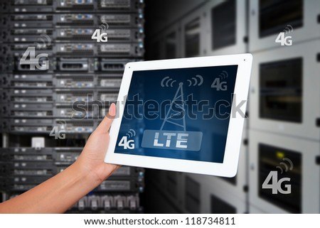 4G LTE wireless GPRS on digital tablet