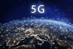 5G mobile telecommunication network in Europe for high speed wireless data connection to internet from smartphones, fifth generation radio wave communication technology, European continent from space
