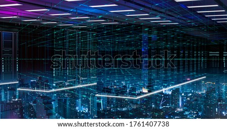 5G network digital hologram and internet of things on city background.Double exposure city of cloud server.5G network wireless systems,IoT(Internet of Things),Smart city,communication network concept.