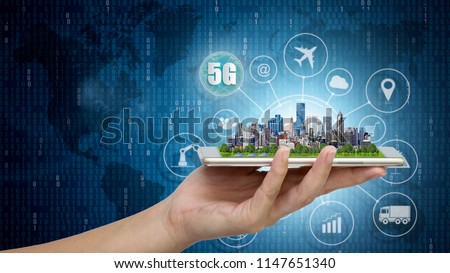 5G network wireless systems and internet of things, Smart city and communication network with Modern city model on smartphone in hand and objects icon connecting together, Connect global wireless. #1147651340