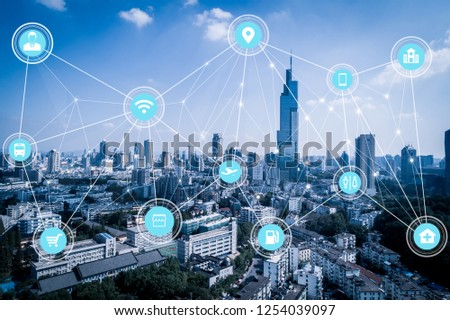5G network wireless systems and internet of things with modern city skyline #1254039097