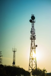 5G radio transmitting tower with antennas for coverage