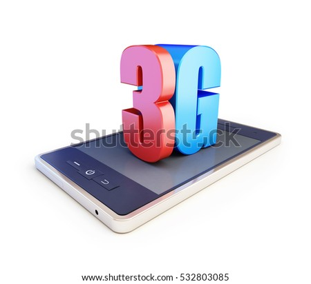 3g smartphone ang text 3g, 3G sign, 3G cellular high speed data wireless connection. 3d Illustrations on white background