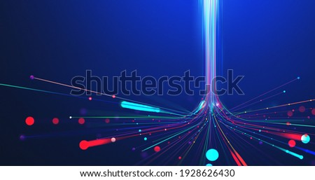 5G technology wireless data transmission, high-speed internet. Information flow in abstract cyberspace. 3d illustration of big data digital funnel