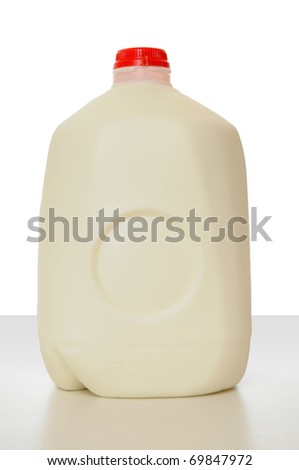 1 Gallon of Milk in a milk carton on a shiny table with white background.