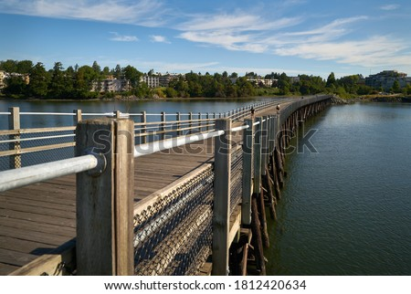 Galloping Goose Trail Bridge Victoria. The Galloping Goose Trail is a 55 kilometer multi use trail between Sidney and Sooke on southern Vancouver Island. This is the Selkirk Trestle portion over the Stockfoto ©