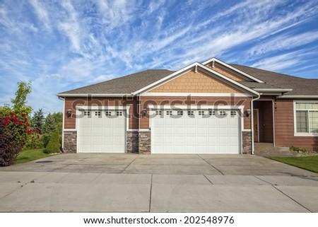 garage doors of a detached house
