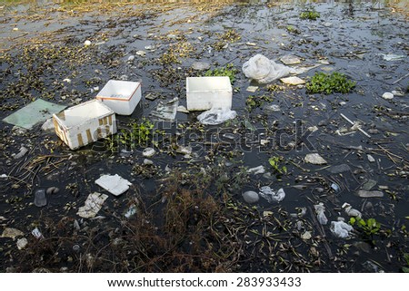 garbage in canal/river, water pollution waste problem