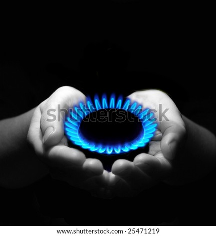 gas in hands . Industrial concept