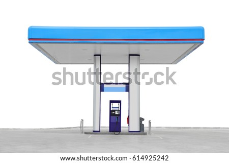 gas station. Oil fuel gasoline service station. isolated on white background #614925242
