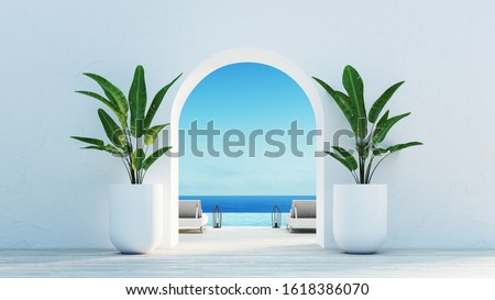 Gate to the sea view & Beach living - Santorini island style / 3D rendering stock photo