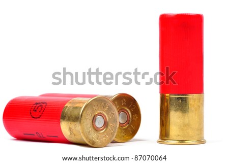 12 gauge red shtogun shells used for hunting - stock photo