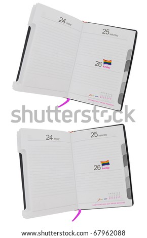 2011 Gay Pride Weekend Date Planner Book with Rainbow Flag Isolated on white background