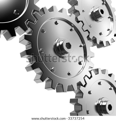4 gears connected together. High resolution rendered.