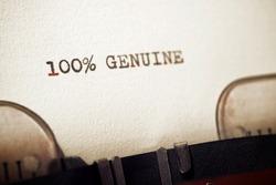 100% genuine phrase written with a typewriter.