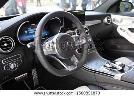 Germany, Frankfurt  - 10. September 2019: IAA Car Show Frankfurt 2019 - Mercedes Benz C 300 de T-Model, detail view of the interior  - Interior view of the car #1500851870