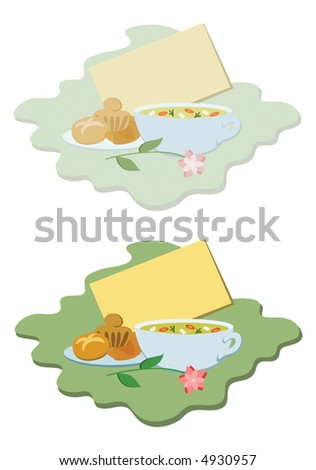 """Get well"" vignette with blank card, chicken soup and baked goodies, in pastel and bright coloured versions"