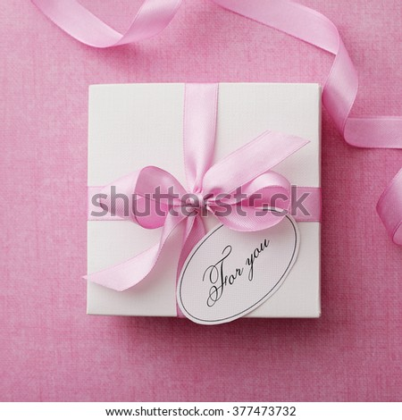 gift box with gift tag. valentines day #377473732