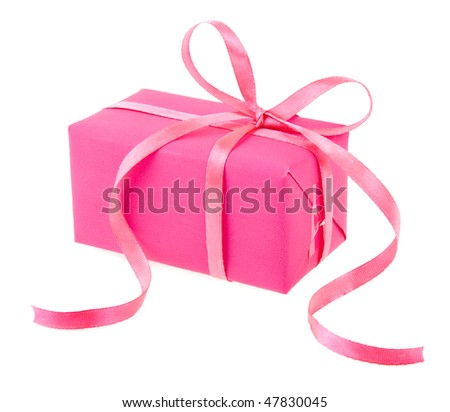 gift box with pink ribbon bow , isolated on white background