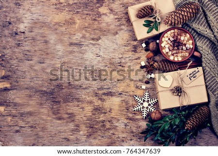 gift, fir branch, nuts, cones, Cocoa, coffee, cozy knitted blanket. Winter, New Year, Christmas still life #764347639