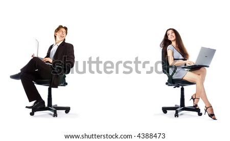 girl and man sitting together with the laptops