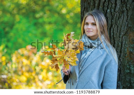 girl covers her face with oak branches. Woman covers her face with dry yellow oak leaf in autumn forest. autumn portrait in the park. girl in a gray coat. a red umbrella stands by a big oak #1193788879
