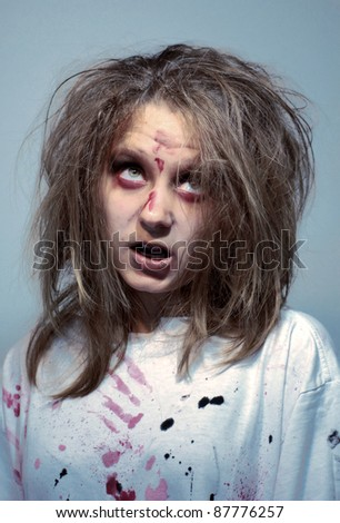 girl in an image of the madwoman of the zombie for a holiday halloween