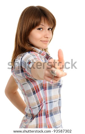 girl pointing at you, isolated on white background