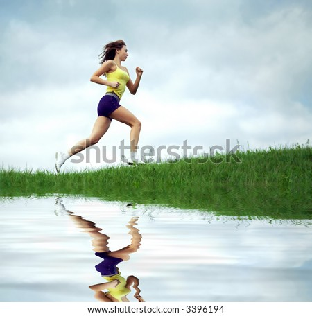girl runs in the evening