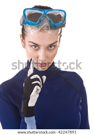 Girl scuba diver in goggles. Isolated. - stock photo