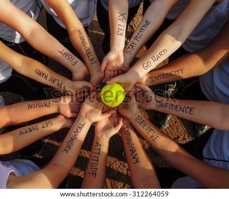 Girls Fastpitch  Softball Team  Motivational  Huddle
