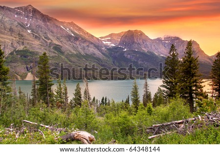 Glacier national park in evening sun light