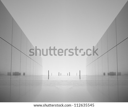 glass decor window on corporate building in reflection with background