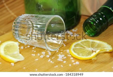 Glass of alcohol and lemon Сток-фото ©
