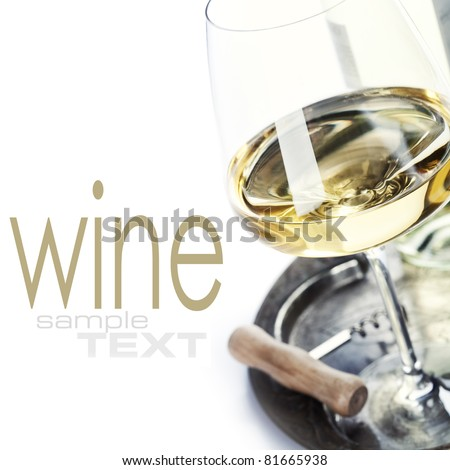 glass of wine and corkscrew over white (with sample text)