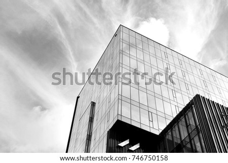Glass windows of office building. Black and white. #746750158