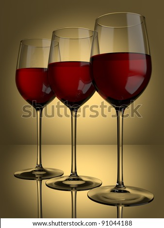 3 glasses of red wine on a lit background - stock photo