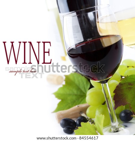 glasses of wine and  grape over white (with sample text)