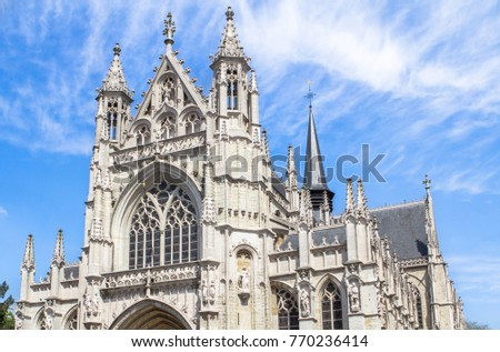 Ã?glise Notre-Dame du Sablon or Cathedral of Our Blessed Lady of the Sablon in Brussels, Belfium Photo stock ©