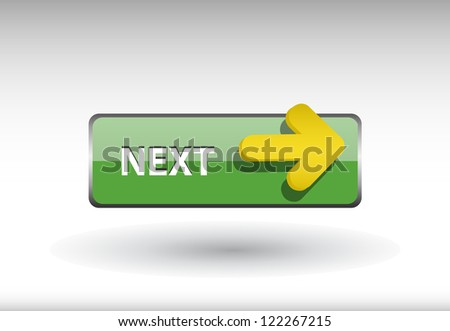 glossy web button with next sign. next arrow shape icon with shadow