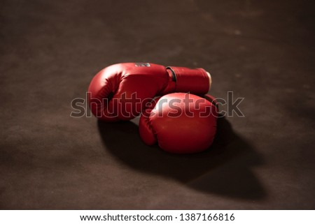 gloves on a white background close up Boxing gloves on lowkey Zdjęcia stock ©