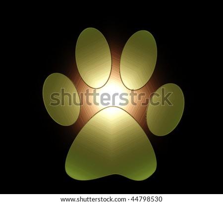 glowing brown paw print on black
